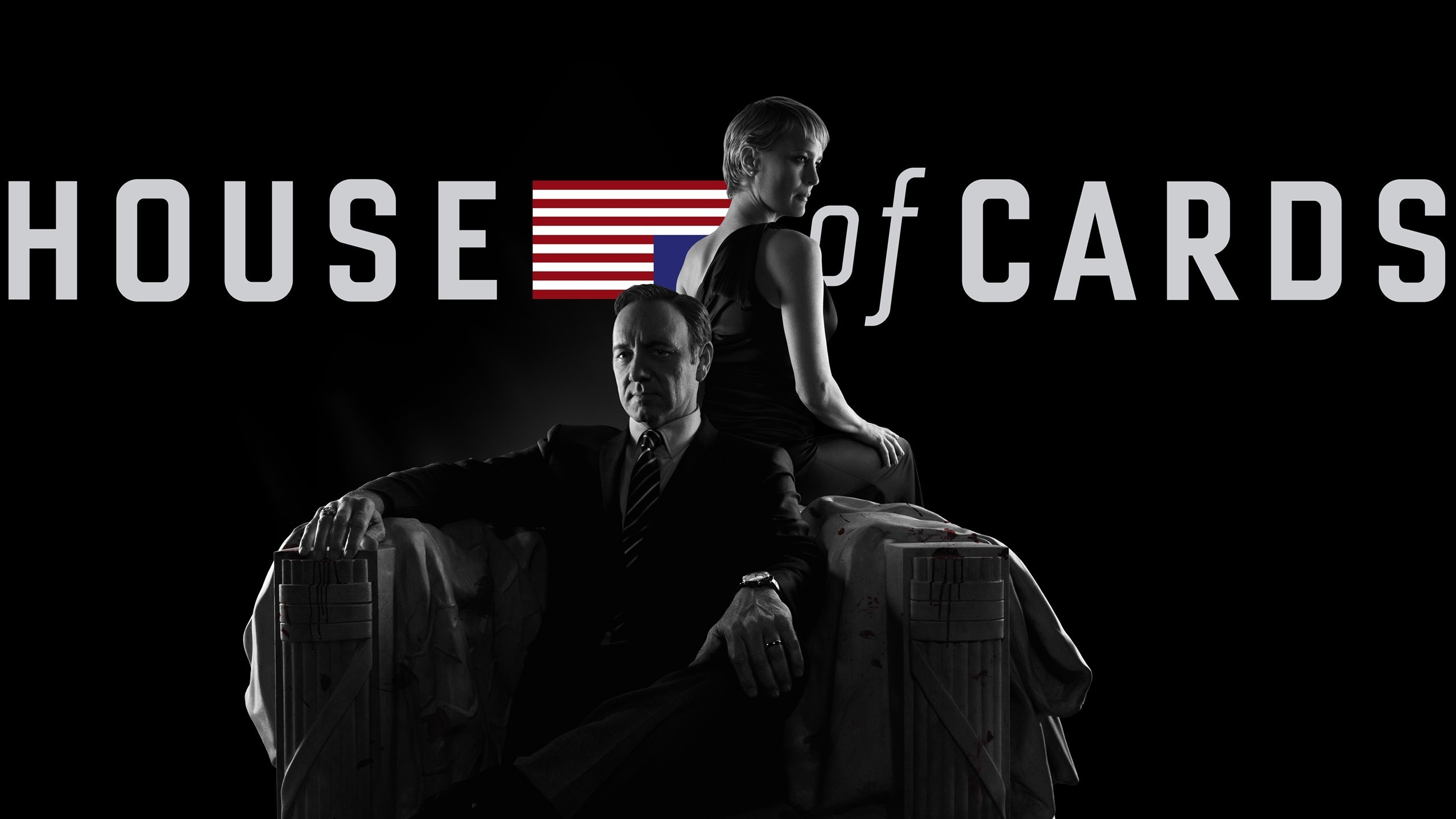 2560X1440 2985206 Frank Underwood Kevin Spacey Robin Wright Claire Underwood Sitting Couple House Of Cards American Flag Black Background Tv  Mixed Wallpapers